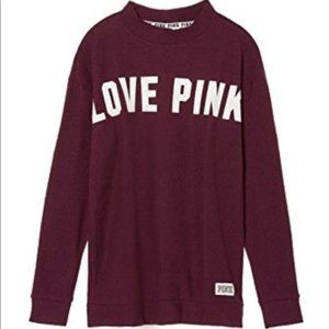 Victoria secret pink maroon spell out pullover Xs